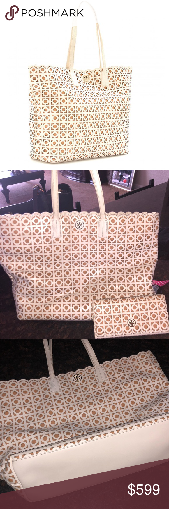 164a55f11d43 Tory Burch Kelsey Laser-Cut East-West Tote A modern interpretation of lace  this