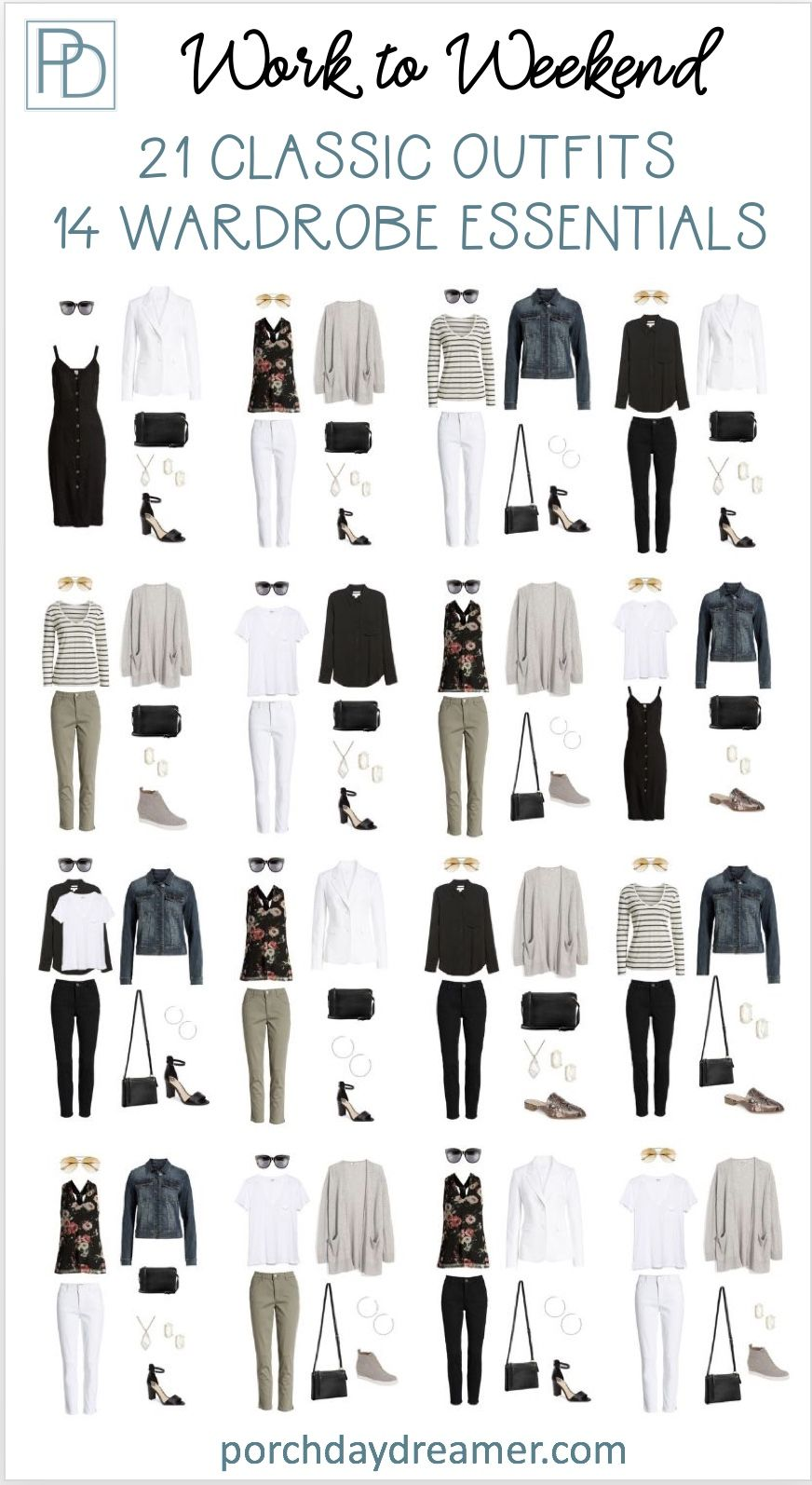 21 Classic Outfits from 14 Wardrobe Essentials