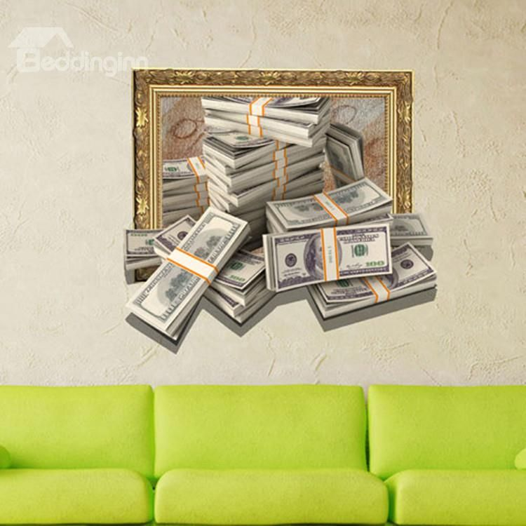 creative and simple style 3d money design wall sticker | cool stuff