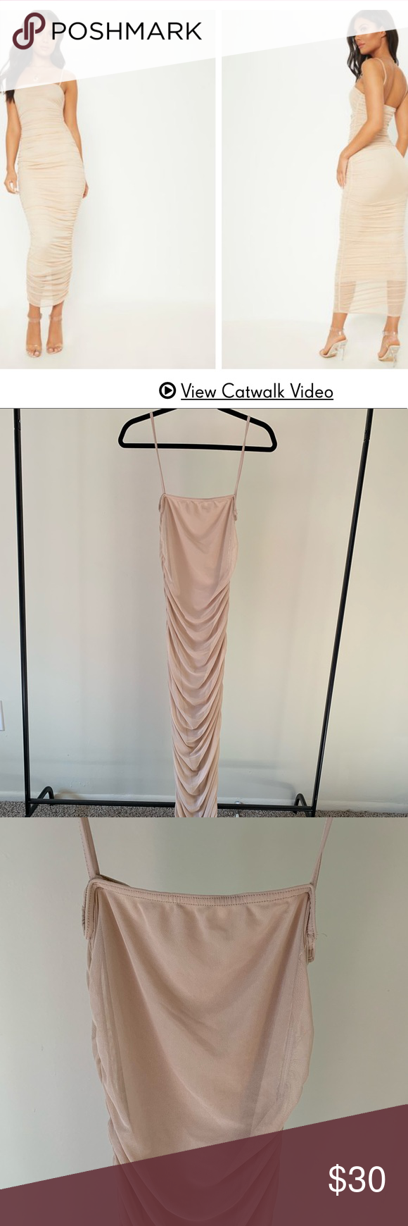 401ece0750b PLT Nude Strappy Mesh Ruched Midaxi Dress Great House of CB dupe! A must  have