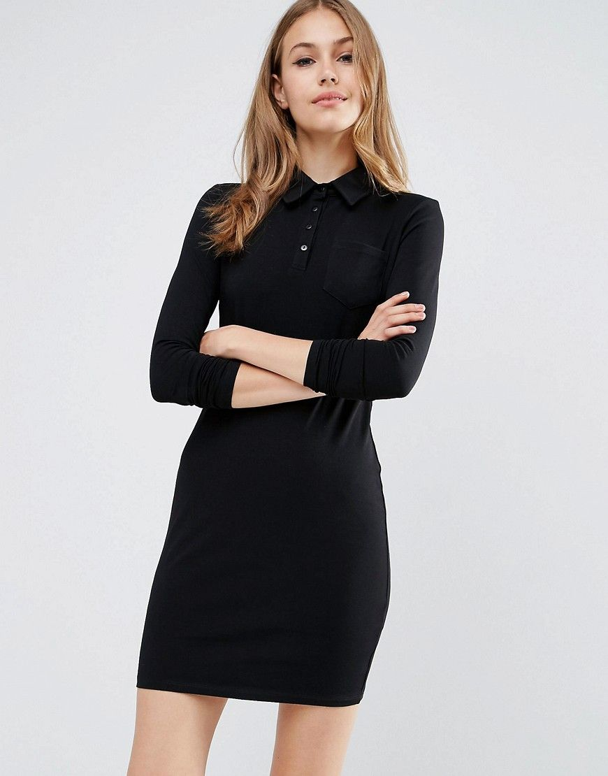 92141e1caed Image 1 of ASOS Long Sleeve Polo Shirt Dress