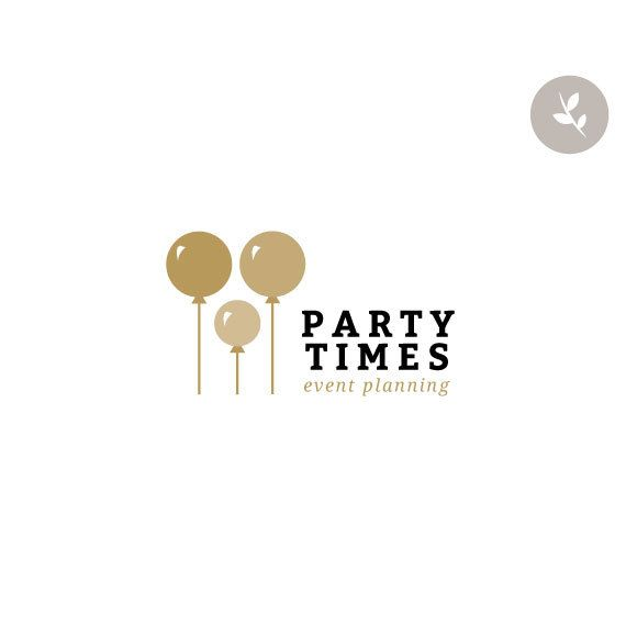 Wedding Photography Business Names: Premade Logo Design Gold Event Balloon Balloons Custom