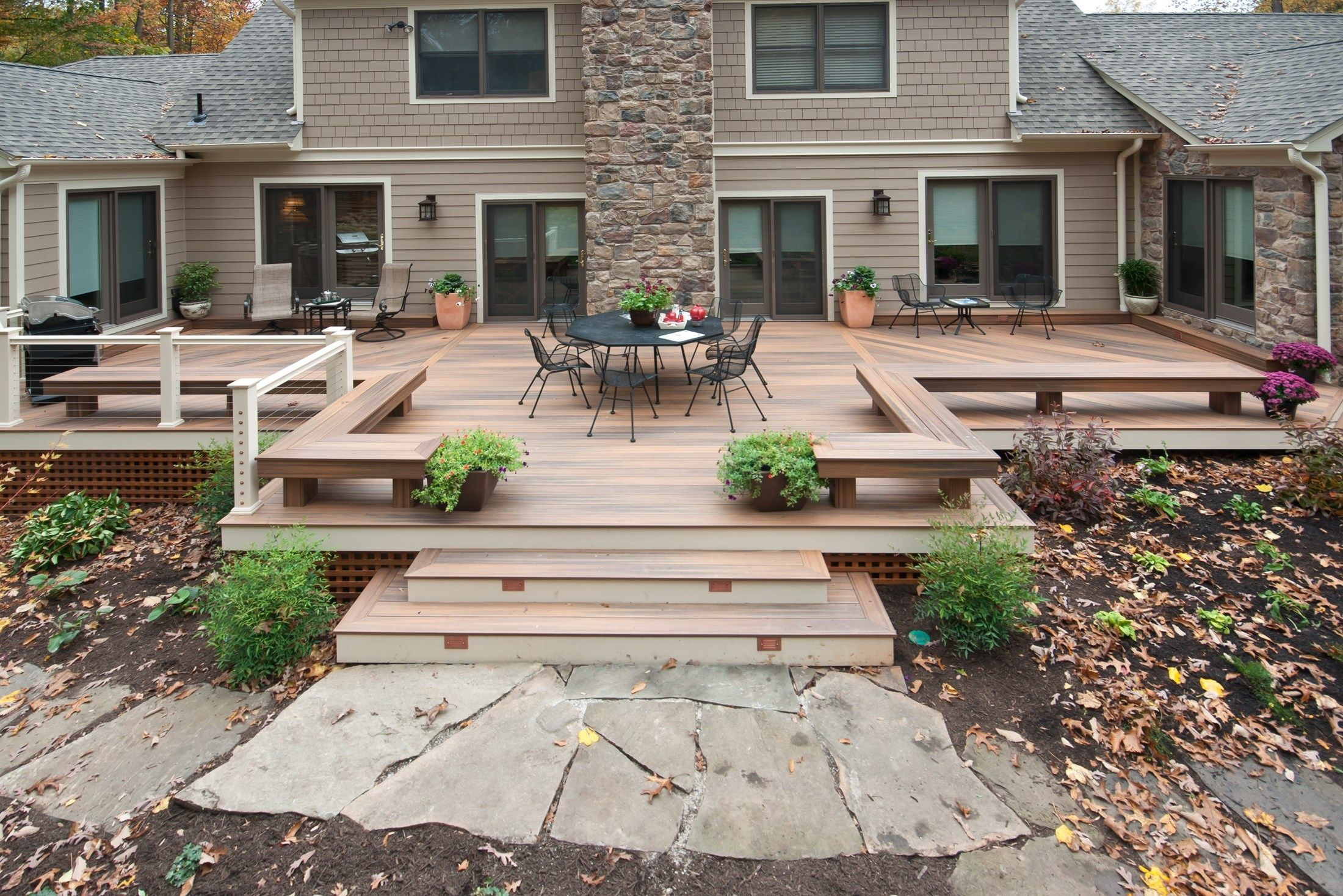this ground level deck has a symmetrical look with on one side a