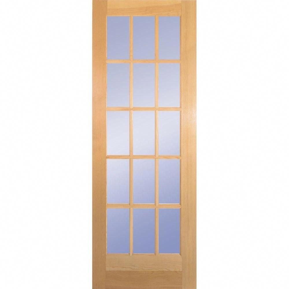 Builders Choice 28 In X 80 In 28 In Clear Pine 15 Lite French Interior Door Slab Unfinished Kitchendoors Glass Doors Interior Wood Doors Interior