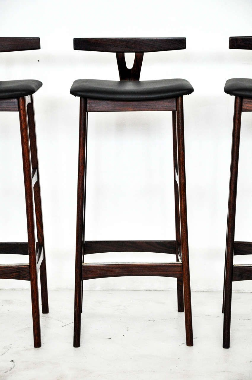 Rosewood And Leather Bar Stools Denmark 1960s In 2020 Bar