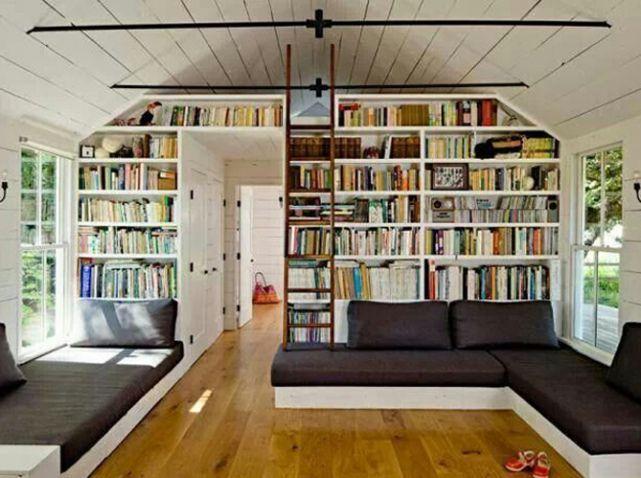 Renovation longere bibliotheque comble biblio Pinterest - bibliotecas modernas en casa