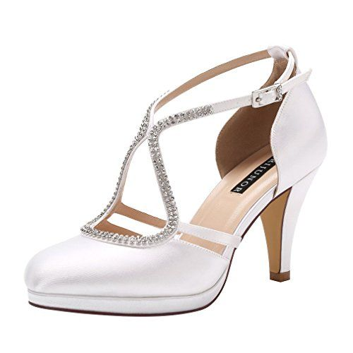 59f0f9a4d Amazon.com | ERIJUNOR Women Low Heel Comfort Platform Ankle Strap Platform  Satin Evening Prom Wedding Shoes | Heeled Sandals