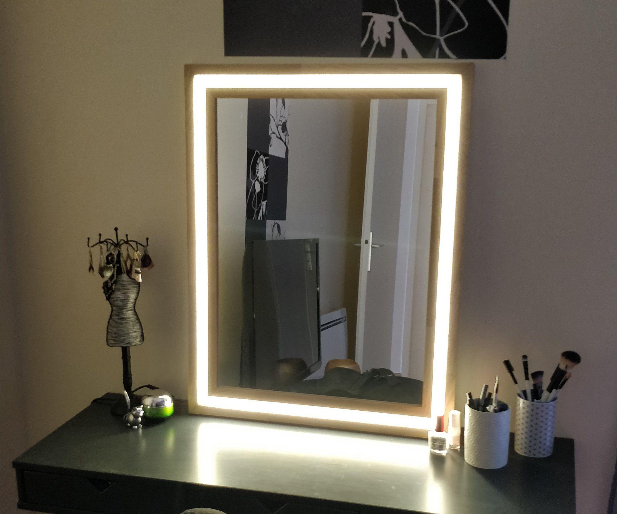 Modern Wood And Led Vanity Mirror Diy Mirror With Lights Diy Vanity Mirror Diy Makeup Mirror Wall makeup mirror with lighted