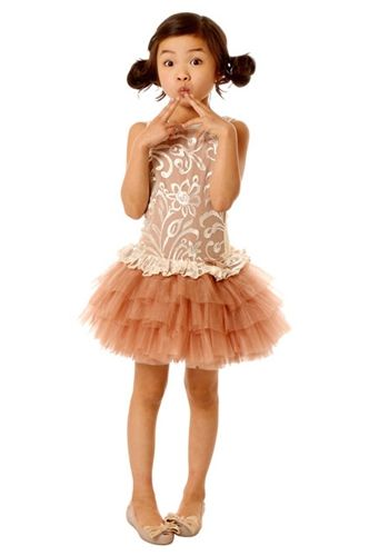 4f1b5ac1ad7c Ooh La La Couture - Embroidered Tulle Peplum Dress in Rose Gold Resort 2014