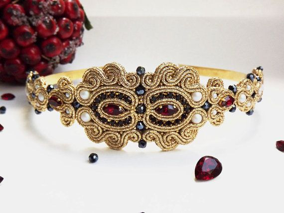 Red black gold soutache hairband with Swarovski от JaneEJewelry