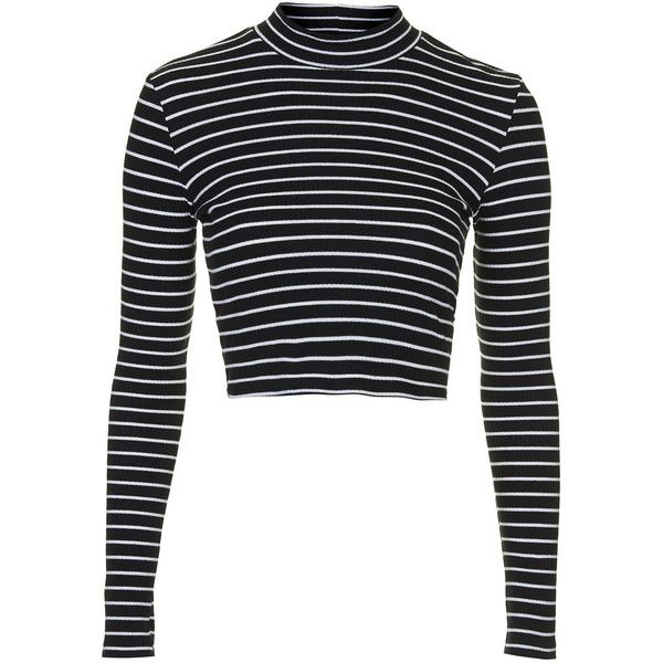 6689d57281f72 TOPSHOP Stripe Rib Funnel Top (£18) ❤ liked on Polyvore featuring tops