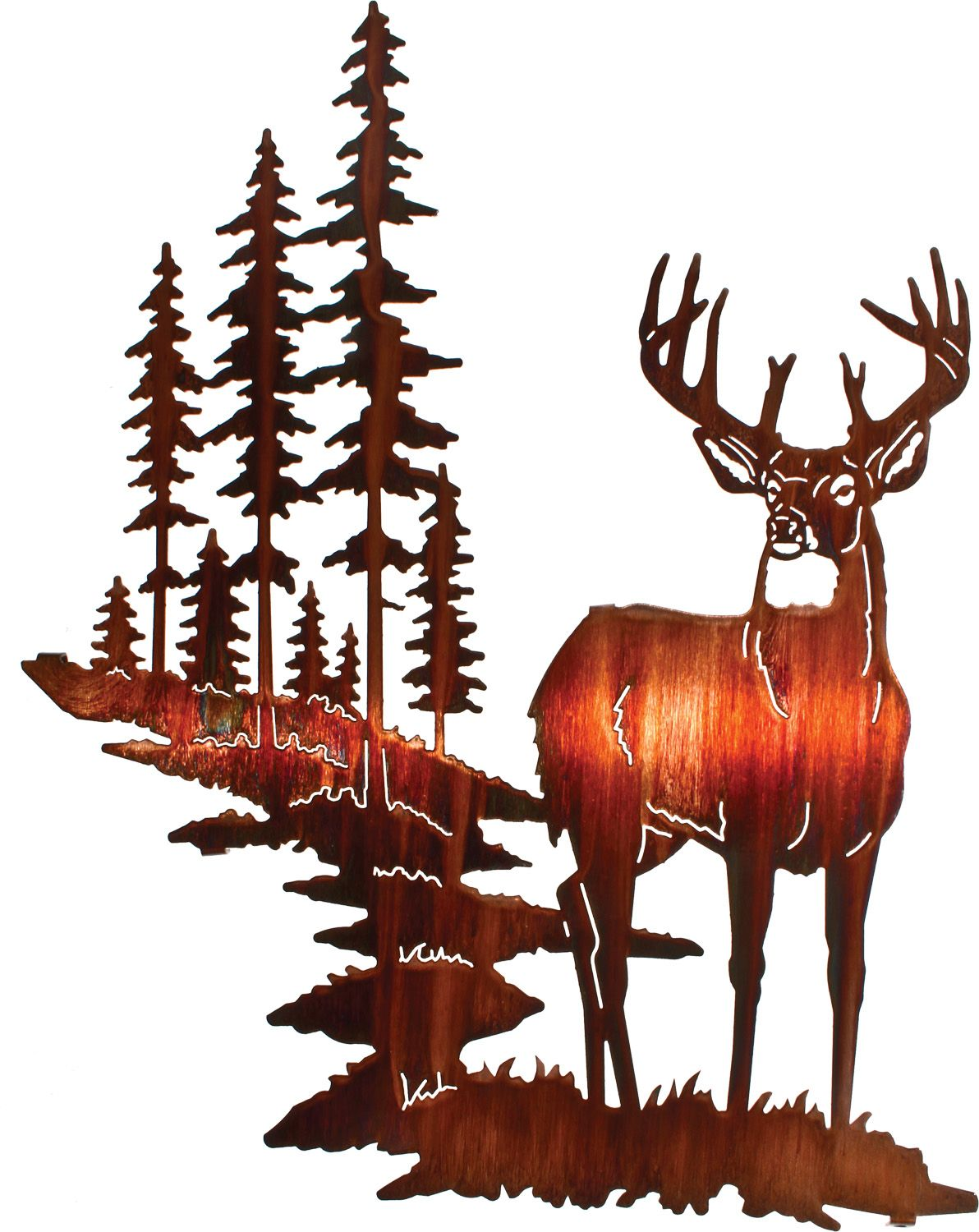 18 whitetail deer wall art rusticeditions artistic whitetail deer metal wall art by neil rose honey pinion finish wildlife wall decor lazart amipublicfo Image collections