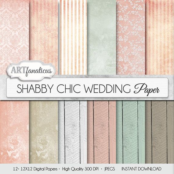 "Chic White Wedding Theme: Wedding Digital Papers ""SHABBY CHIC WEDDING"" Rustic, Pink"