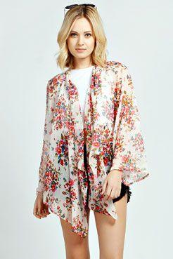 07e5ebf4b3 Tonya Floral Print Chiffon Kimono at boohoo.com | paquita obando ...