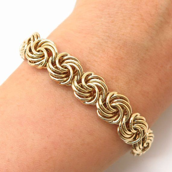 925 Sterling Silver Italy Gold Plated Swirl Knot Link Bracelet 6 3/4