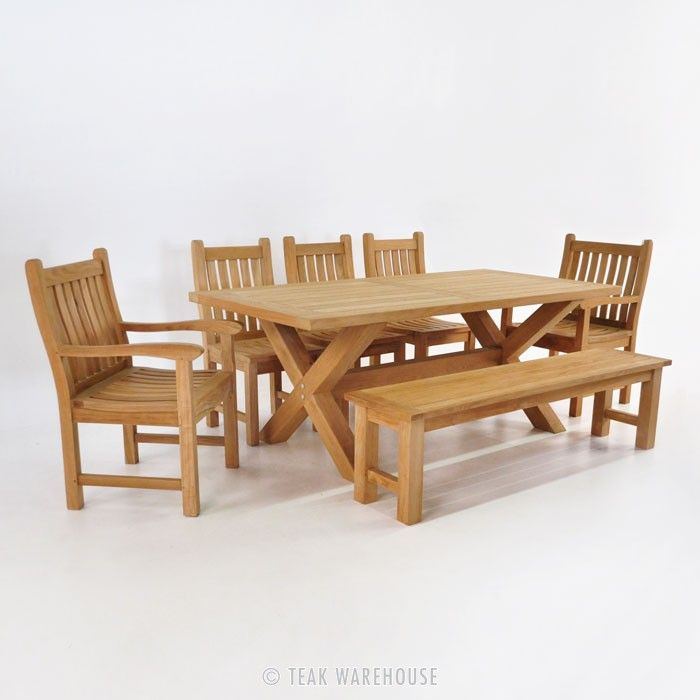 Teak Dining Set  X Leg Table With Bench & 5 Chairs  Gardens Pleasing Teak Dining Room Furniture Decorating Inspiration