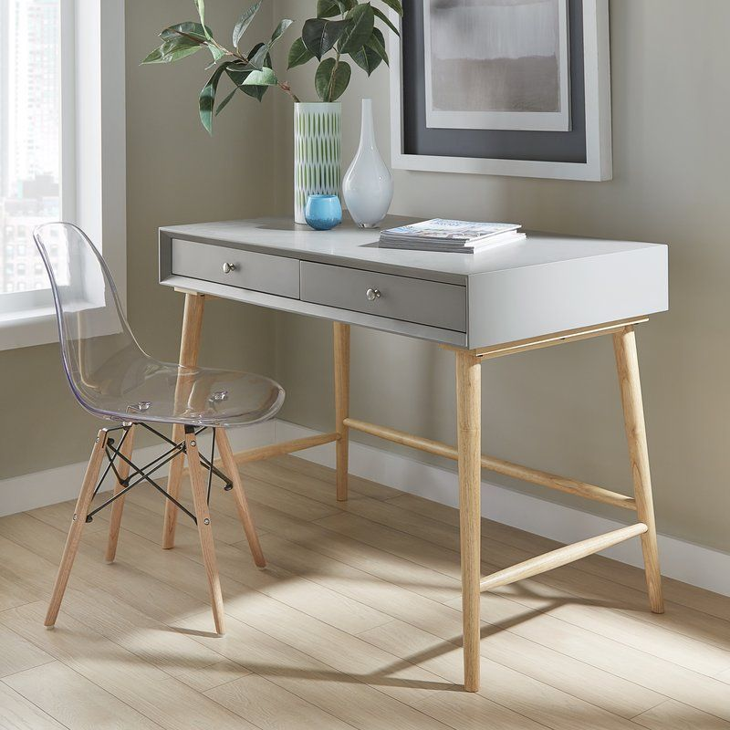 Athey solid wood desk white desk with drawers