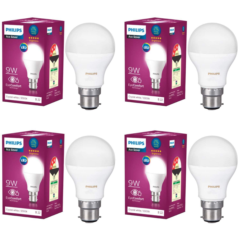 Philips Base B22 9 Watt Led Bulb Pack Of 4 White Led Bulb Philips Bulb