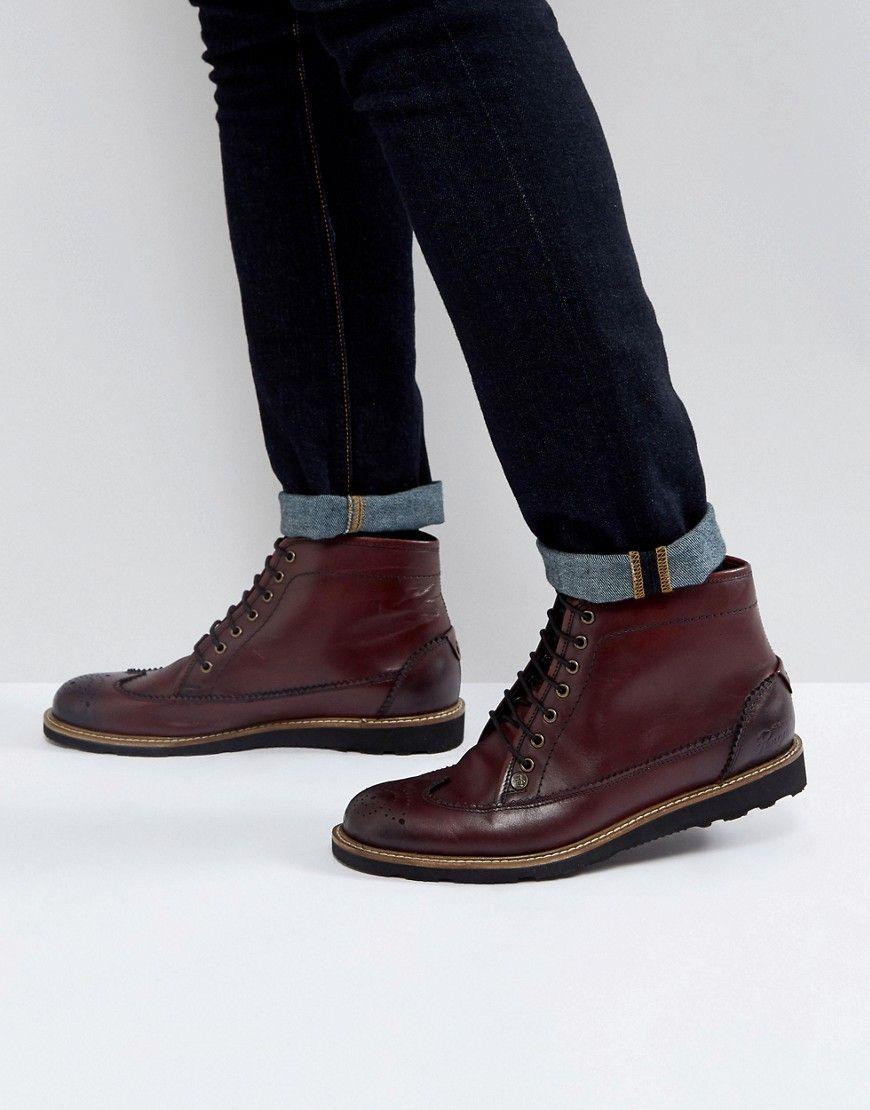 Creasy Brogue Boots in Bordo - Red Original Penguin T7MLKc