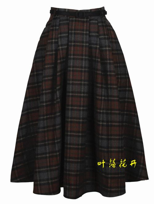 Winter Vintage Plaid Skirts England Style Knee-Length Classic Maxi Skirt  AliExpress.com | Alibaba Group