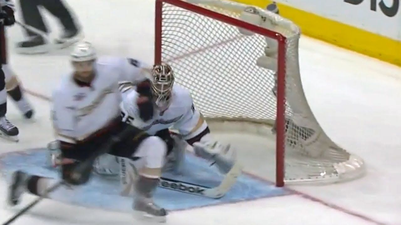 Gibson dives to his left to rob Doughty