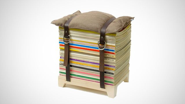 DIY design transforms old mags into a cool stool