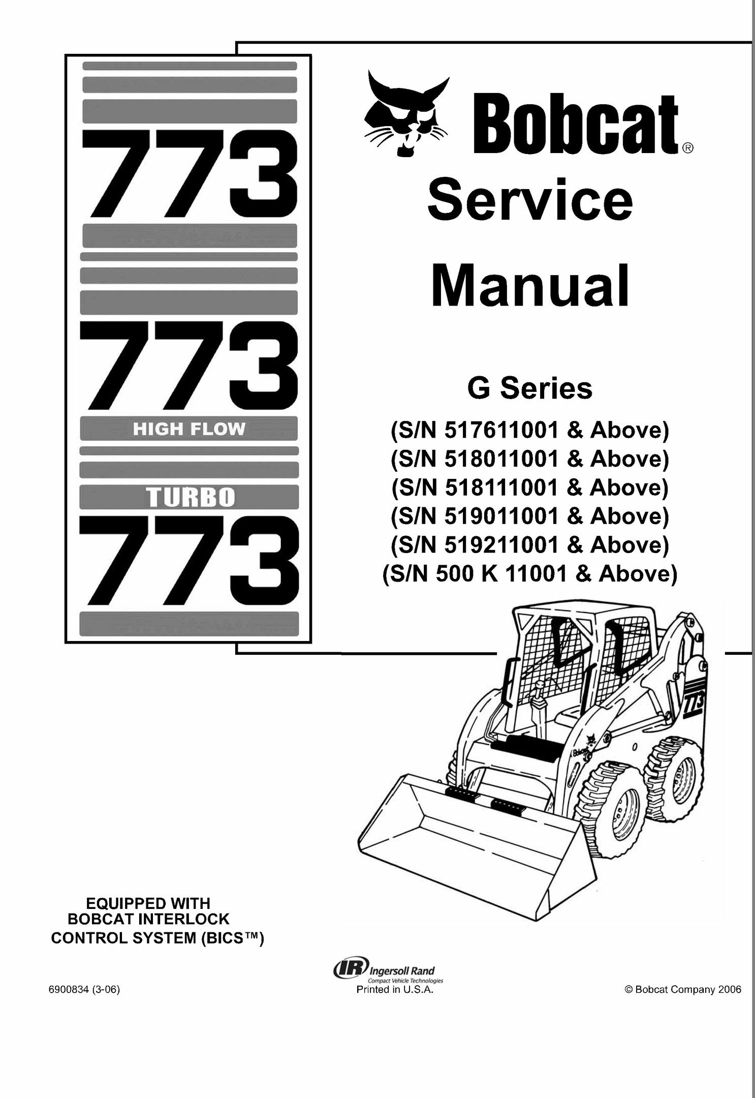Bobcat 773 G-Series Skid Steer Loader Service Repair Manual INSTANT on