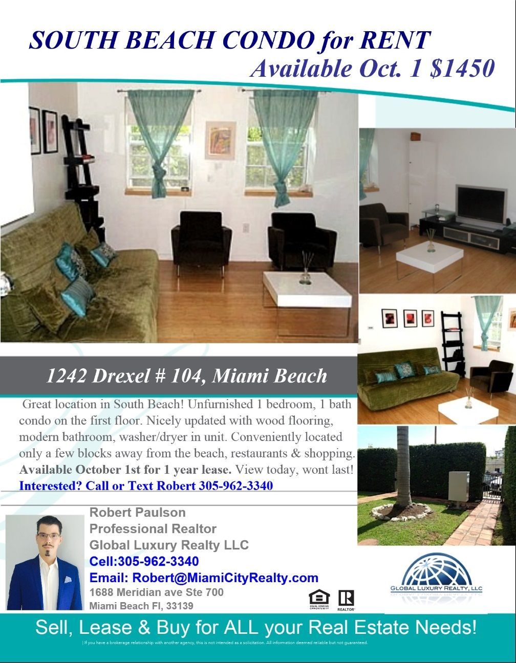 1242 Drexel Avenue Miami Beach Fl 33139 Available For Lease 1 450 Per Month Miamicityrealty Com South Beach Condo Miami Beach Condo Condos For Rent
