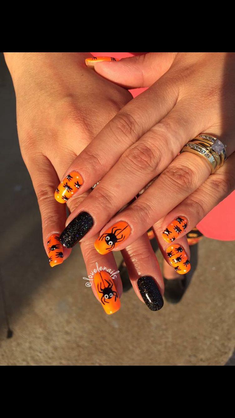 Orange And Black Nail Designs : orange, black, designs, Halloween, Design., Shellac, Orange, Black, Nails., Conroe, Designs,, Nails,, Designs