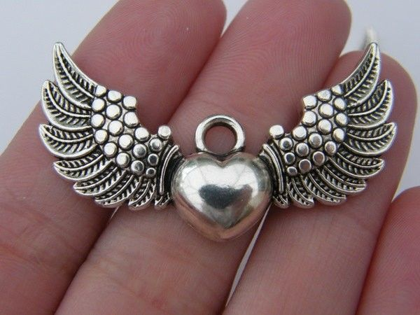 12 x Tibetan Silver A Pair of Angel Wings Double Charm Pendant Jewellery Making