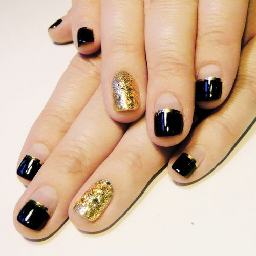 Black And Gold Nail Designs For Short Nails