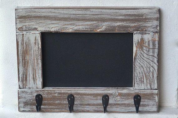 Entryway Chalkboard Frame Key Holder Rustic Coat Rack Framed Mudroom Hooks Organizer