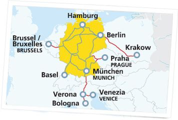 Map with extension cities Germany Cologne Munich Black Forest