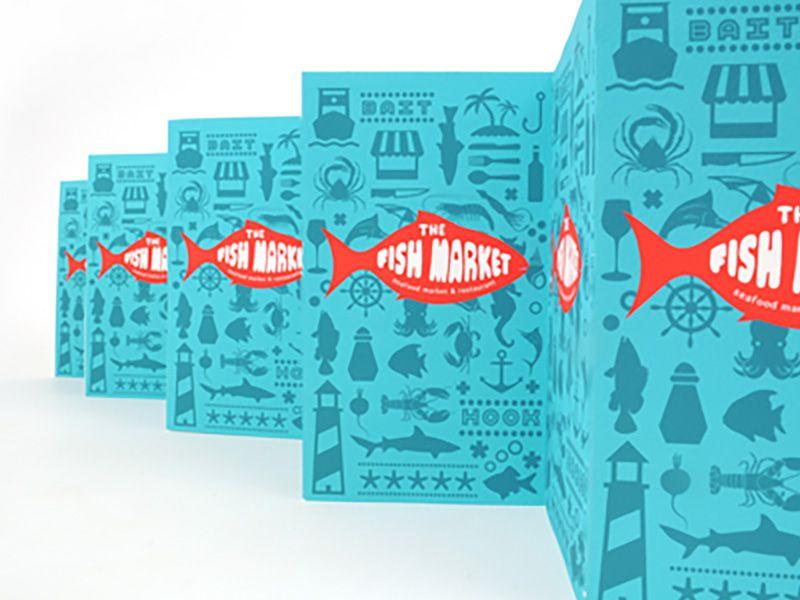 The Fish Market Restaurant Menu Brochure Design Unique Brochure Design Menu Cover Design