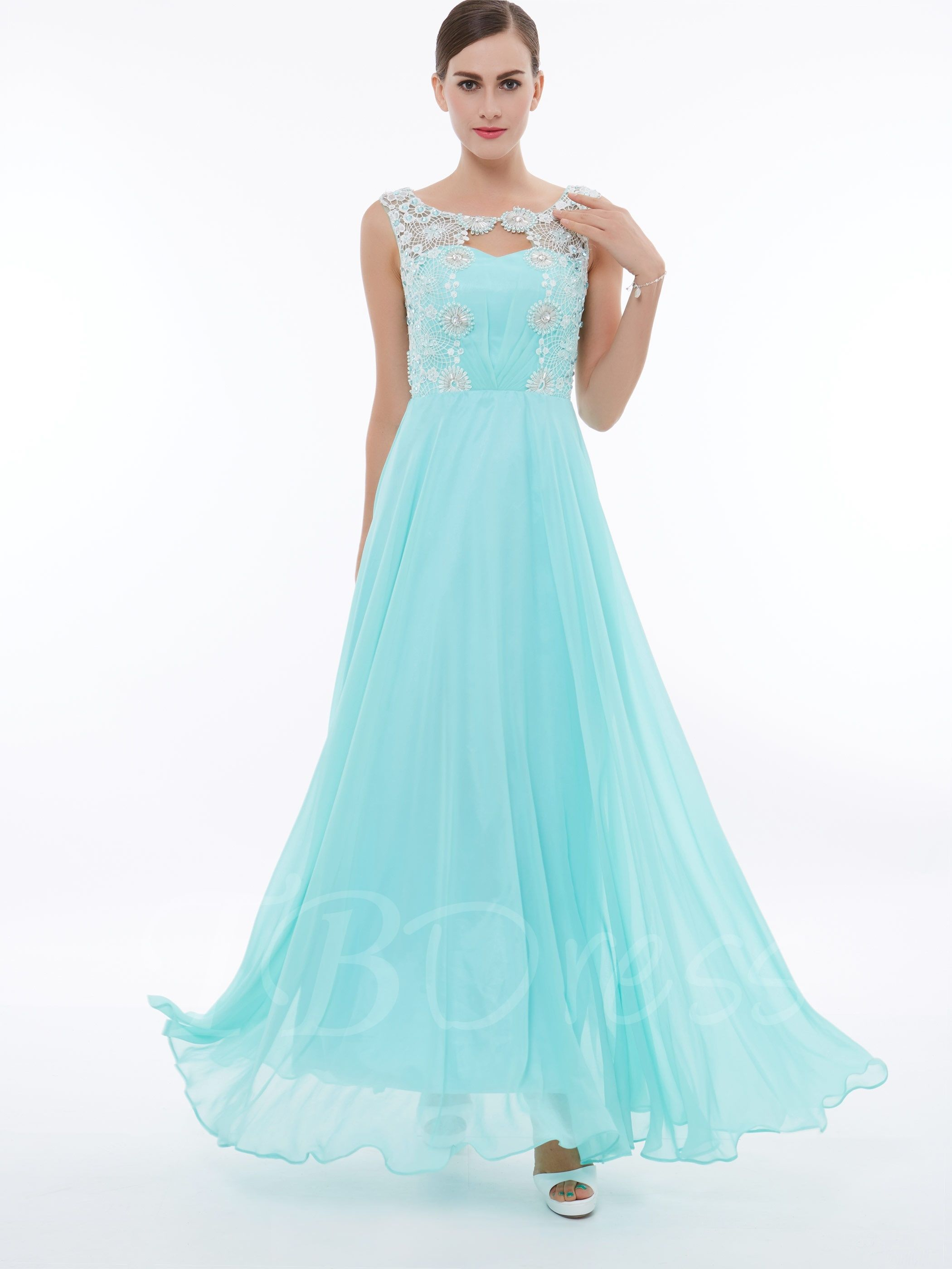 Straps appliques pearls beading prom dress prom and pearls