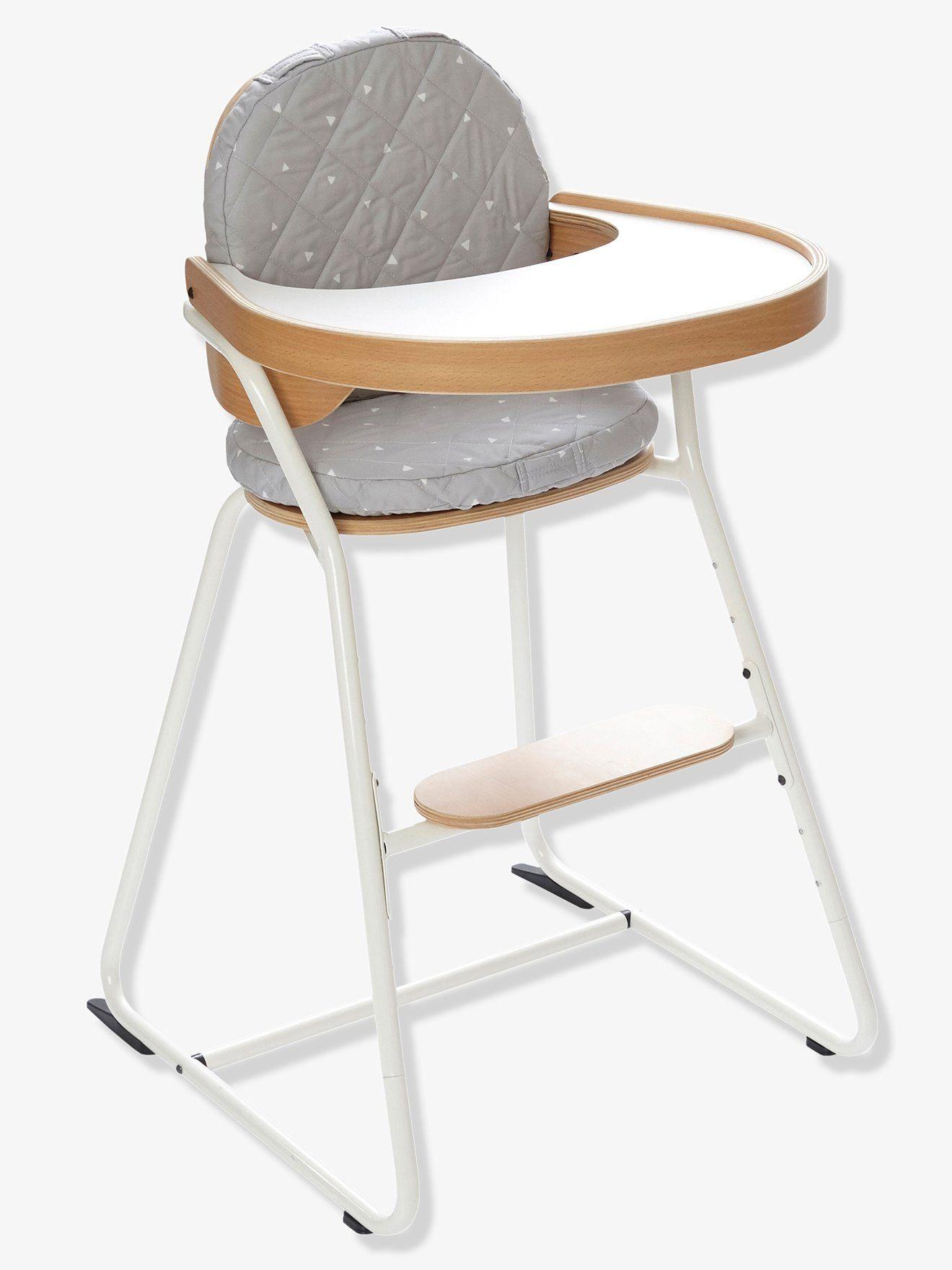 Chaise Haute Design Charlie Crane Vertbaudet Gris Blanc Bois