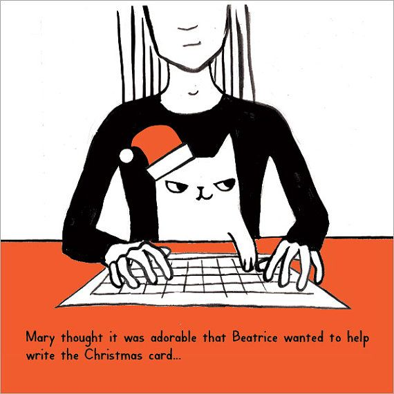 Cat helping to write the Christmas card by ReigningCatsAndDogs1