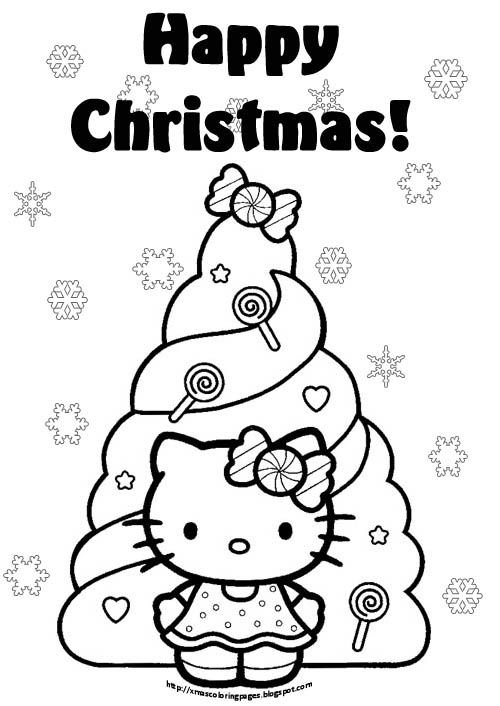 Kleurplaten Hello Kitty Kerst.Christmas Coloring Pages Kleurplaten Hello Kitty Pinterest
