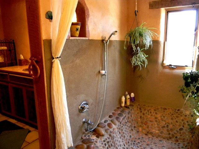 Sunken Tub Shower Combination | Master bedroom #1 with river stone ...