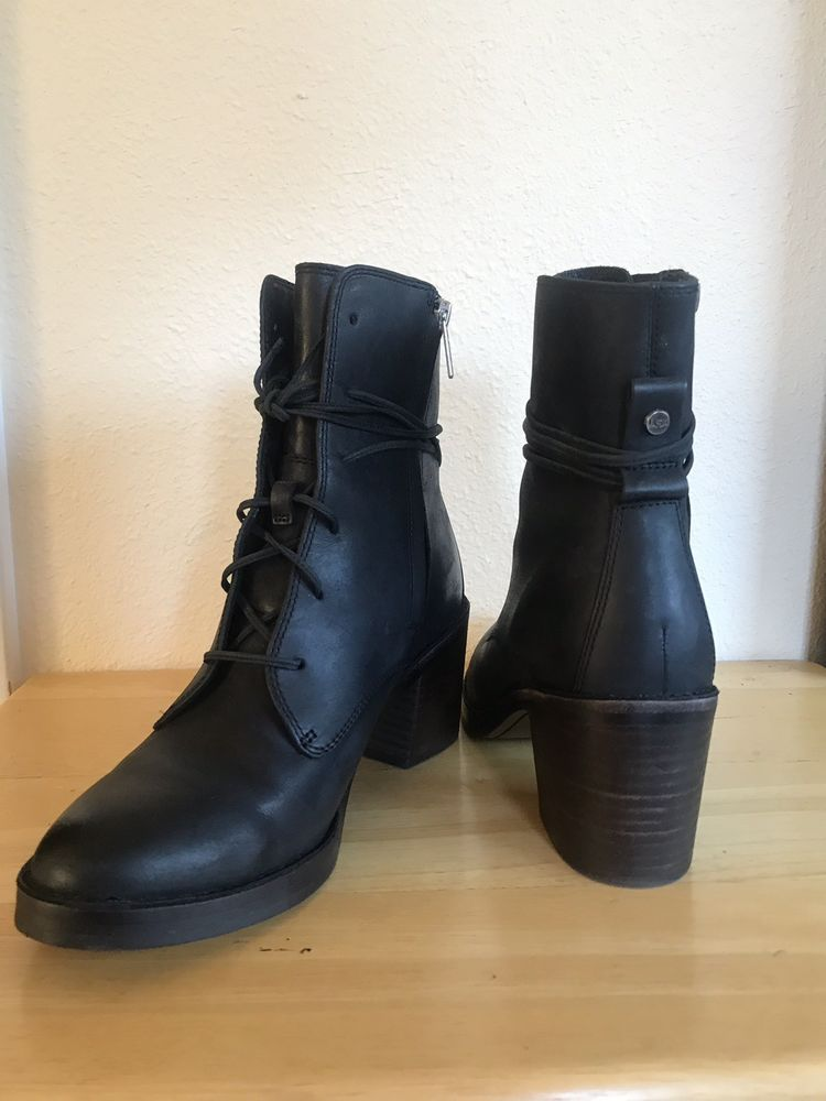 f7cdfdb4d91 UGG ORIANA EXOTIC LACE-UP ANKLE BOOTS BLACK LEATHER / CALF HAIR -US ...