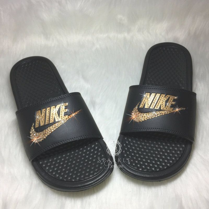 sports shoes 1f8e1 d172c Bling Women s Benassi JDI Nike Slides Bedazzled with GOLD Crystals All  Sizes Sparkly Nike Slides Slippers Sandals SparkleBoutique2U by  SparkleBoutique2U on ...