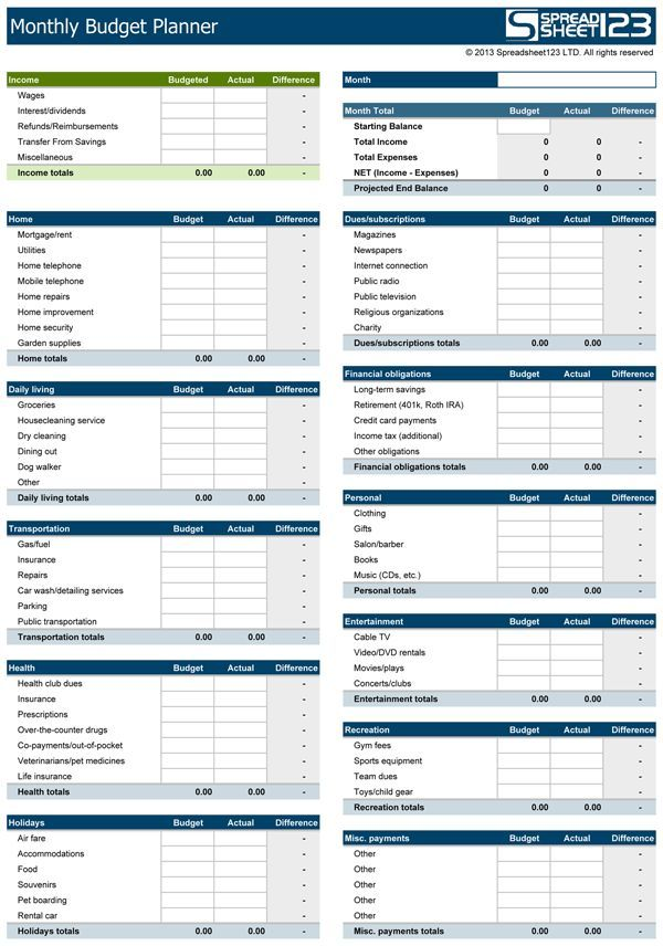 Download a free Monthly Budget Planner, that helps in planning your - Download Budget Spreadsheet