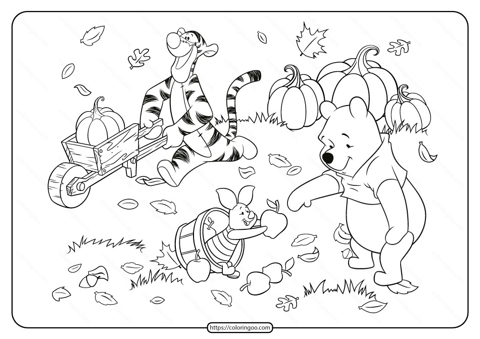 Winnie The Pooh And Friends Fall Coloring Page Fall Coloring Pages Thanksgiving Coloring Pages Disney Thanksgiving