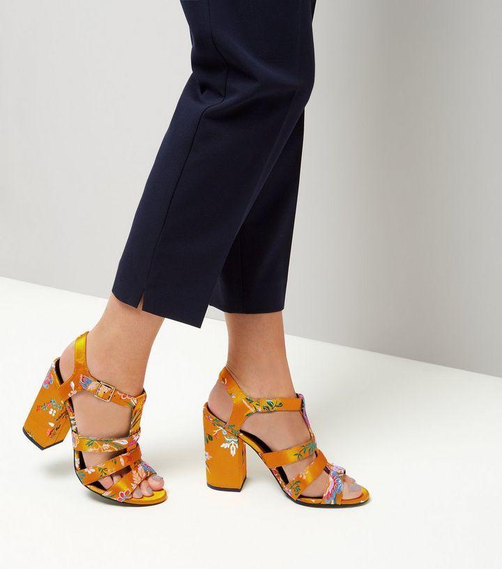 Yellow Satin Floral Brocade Gladiator Block Heels | New Look