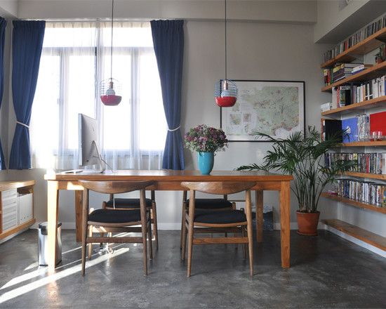 Modern Apartment Interior Design in Cozy Atmosphere: Fabulous Dining Room With Open Book Shelving Ideas Flower Market   Spacious 1 Bedroom
