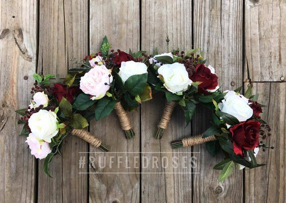 Burgundy Bridesmaid Bouquet, Bridesmaid Bouquet, Blush and Burgundy Bouquet, Bridesmaid Bouquet #bridesmaidbouquets