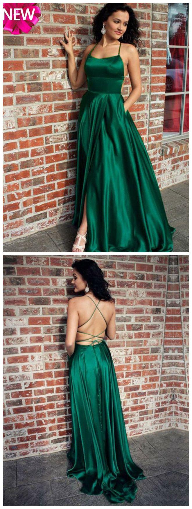 chic aline prom dresses hunter spaghetti straps long prom