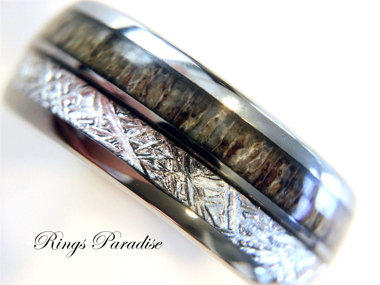 Antler Ring, Tungsten Wedding Bands, Anniversary Ring, Engagement ...