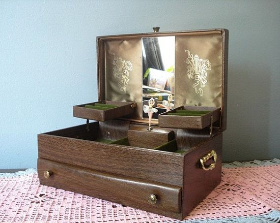 Vintage LADY BUXTON Large Music Jewelry Box Ballerina
