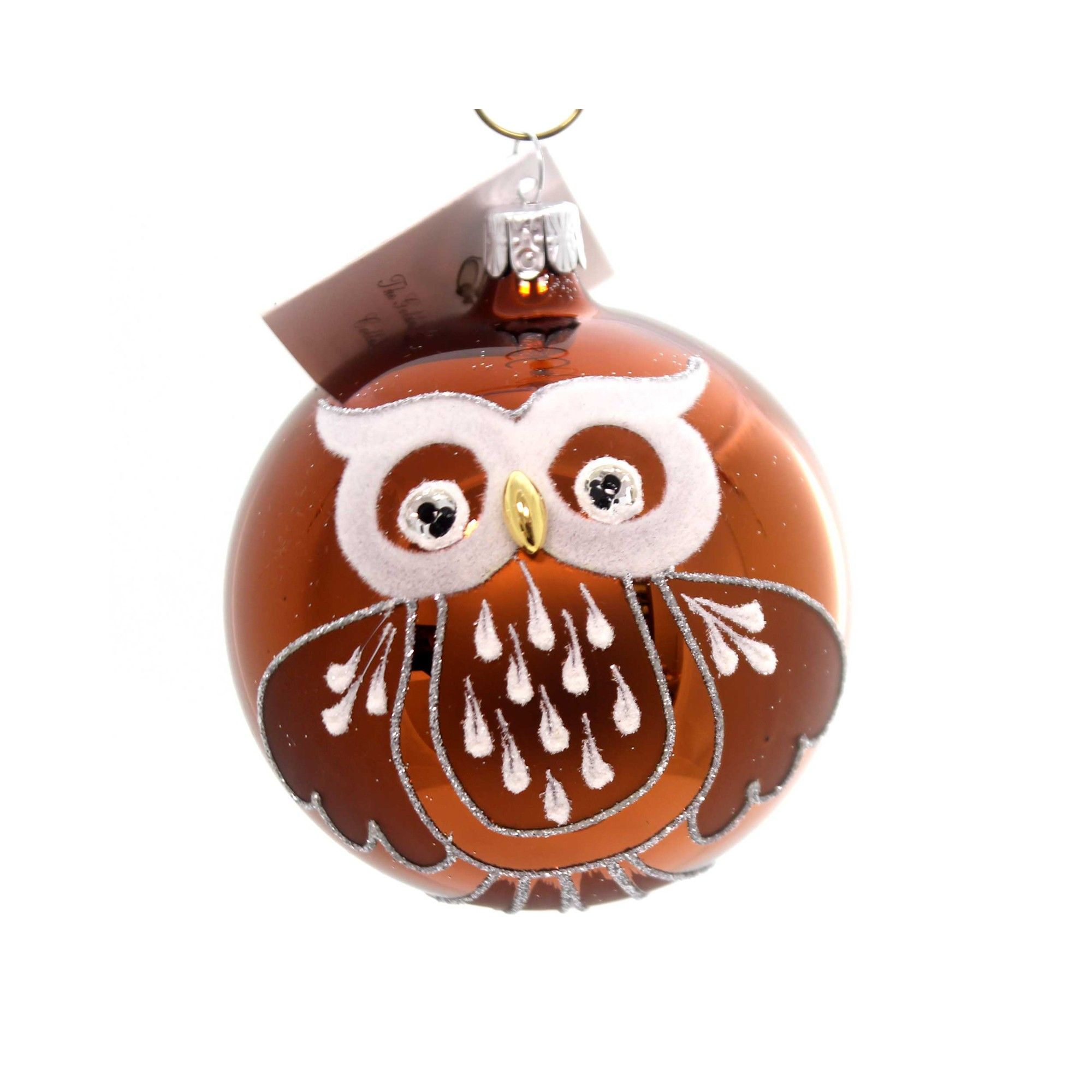 Golden Bell Collection Mcm Ball Owl Ornament Czech